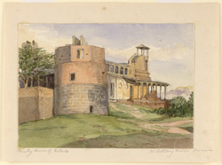 'Countryhouse of Holkar.  Nr. Artillery lines - Poonah' and on reverse: 'Countryhouse of Holkar in ruins nr. Artillery lines - Poonah'